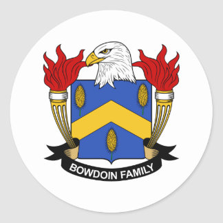Bowdoin Family Crest Round Stickers