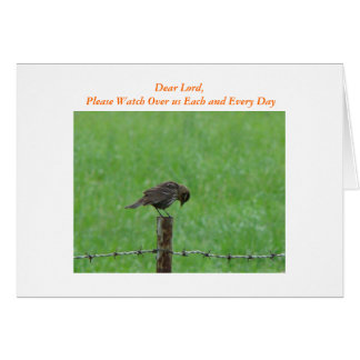 Bowed Bird, Dear Lord, Dear Lord, Please Watch ... Card