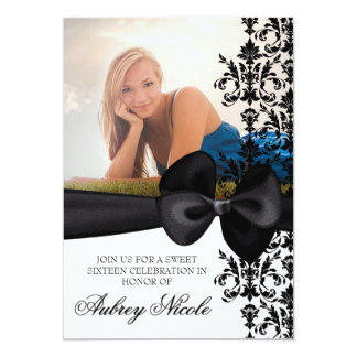 Bowed Damask Accented 5 x 7 Invite [Black]