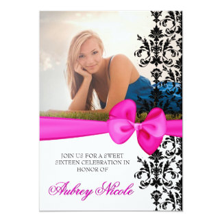 Bowed Damask Accented 5 x 7 Invite [Pink]