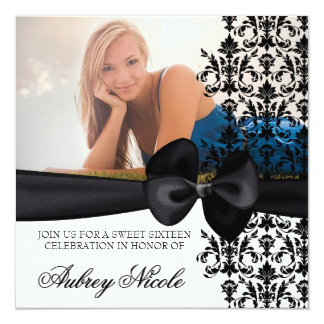 Bowed Damask Accented Invite [Black]