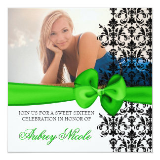 Bowed Damask Accented Invite [Green]
