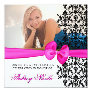 Bowed Damask Accented Invite [Pink]