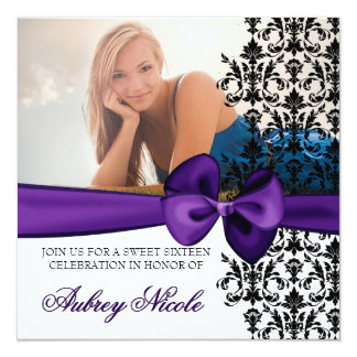 Bowed Damask Accented Invite [Purple]