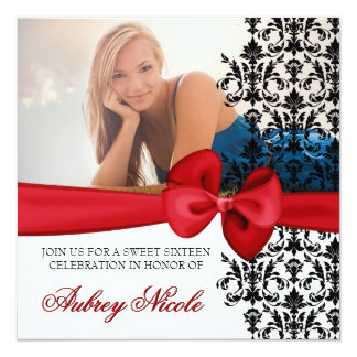 Bowed Damask Accented Invite [Red]