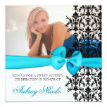 Bowed Damask Accented Invite [Teal]