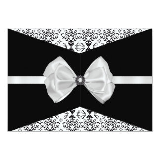 Bowed Damask Invite [Black and White]