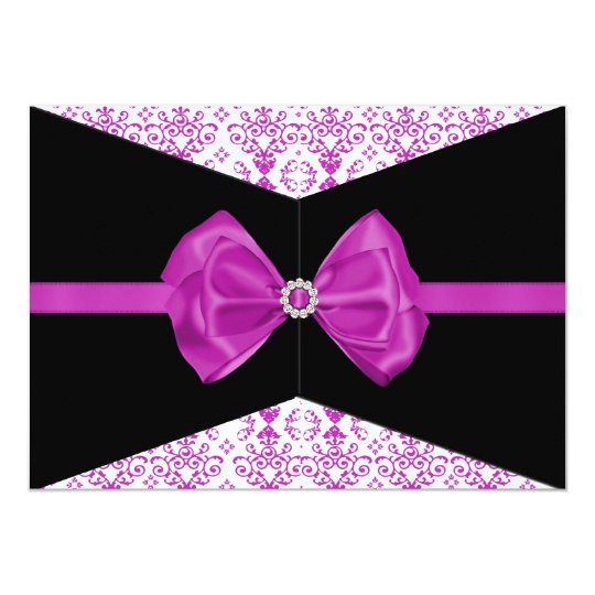 Bowed Damask Invite [Pink]