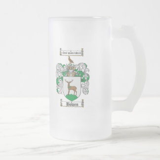 BOWEN FAMILY CREST -  BOWEN COAT OF ARMS 16 OZ FROSTED GLASS BEER MUG