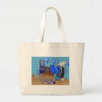 Bowerbirds en bolso azul bolsas de mano
