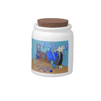 Bowerbirds In Blue Candy Jar