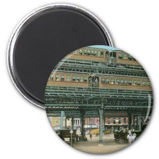 Bowery and Doubledeck Elevated R.R., NYC 2 Inch Round Magnet