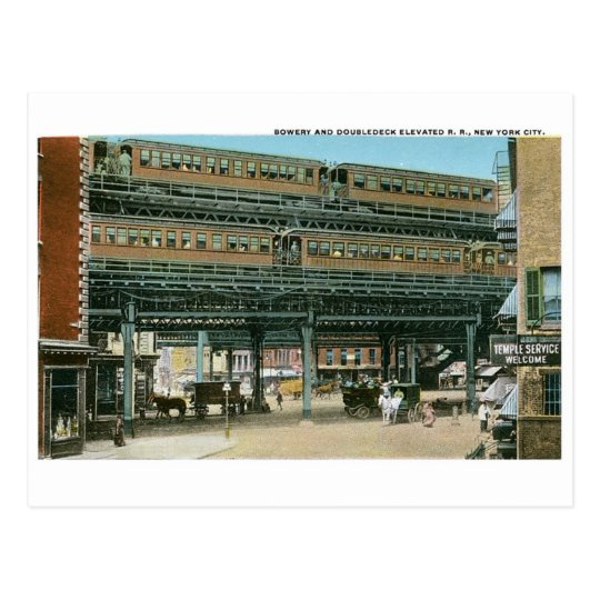 Bowery and Doubledeck Elevated R.R., NYC Postcard
