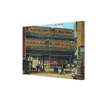 Bowery NYC Double Decker Elevated Train Canvas Print