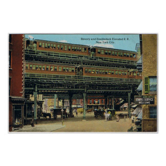 Bowery NYC Double Decker Elevated Train Poster