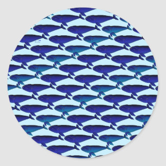 Bowhead Whale Pattern in Blue Classic Round Sticker