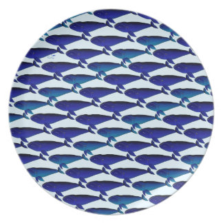 Bowhead Whale Pattern in Blue Dinner Plate