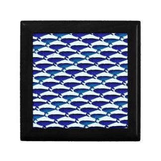 Bowhead Whale Pattern in Blue Keepsake Box