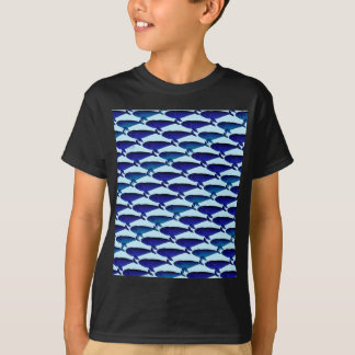 Bowhead Whale Pattern in Blue T-Shirt