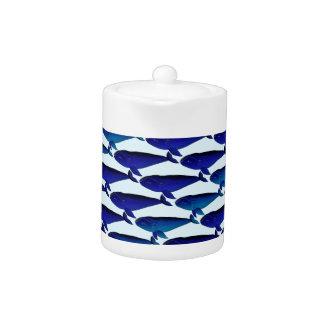 Bowhead Whale Pattern in Blue Teapot