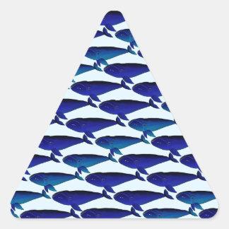 Bowhead Whale Pattern in Blue Triangle Sticker
