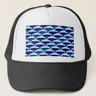Bowhead Whale Pattern in Blue Trucker Hat