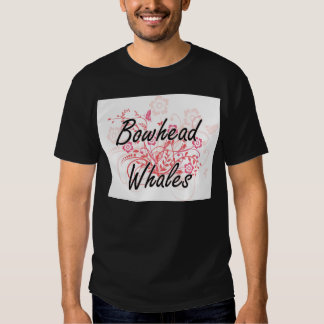 Bowhead Whales with flowers background Tee Shirt