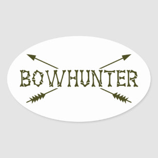 Bowhunter cruzó flechas pegatina ovalada