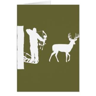 Bowhunter in Treestand Shooting Deer Greeting Card