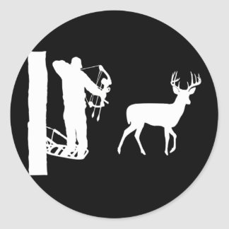 Bowhunter in Treestand Shooting Deer Classic Round Sticker