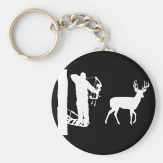 Bowhunter in Treestand Shooting Deer Keychain