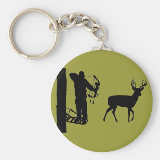 Bowhunter in Treestand Shooting Deer Key Chain