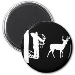 Bowhunter in Treestand Shooting Deer 2 Inch Round Magnet