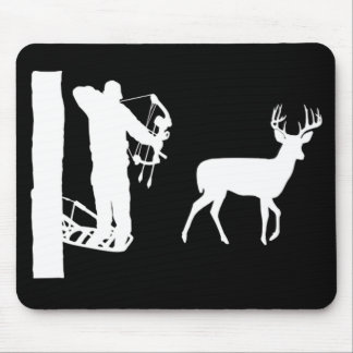Bowhunter in Treestand Shooting Deer Mouse Pad