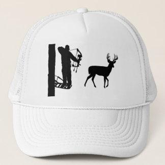 Bowhunter in Treestand Shooting Deer Trucker Hat