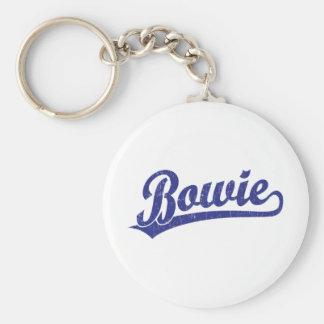 Bowie script logo in blue keychain