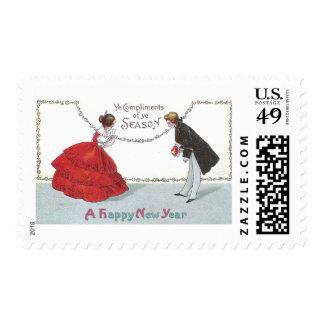 Bowing Ball Goers in Fancy Dress Postage