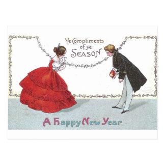 Bowing Ball Goers in Fancy Dress Postcards