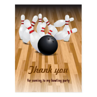 Bowl a Strike Party Thank You Postcard