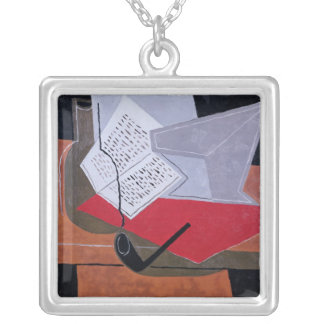Bowl and Book Square Pendant Necklace