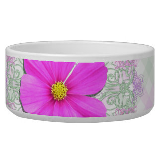 Bowl - Dark Pink Cosmos on Lace & Lattice