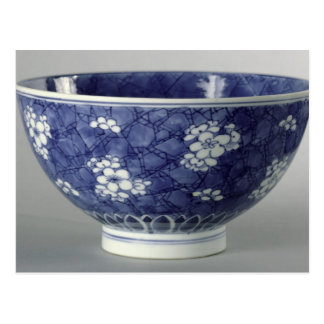 Bowl decorated with cherry blossom postcard
