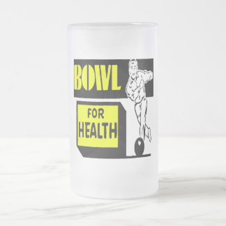 BOWL FOR YOUR HEALTHQ FROSTED GLASS BEER MUG
