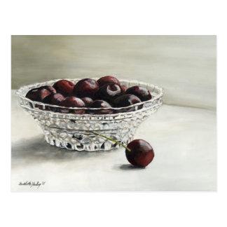 Bowl Full of Cherries Art Postcard