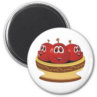 Bowl full of Cherries Cartoon 2 Inch Round Magnet