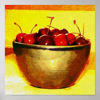 Bowl Full of Fresh Cherries Poster
