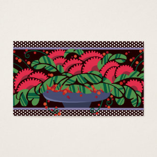 Bowl O' Berries in Periwinkle and Cherry Business Card