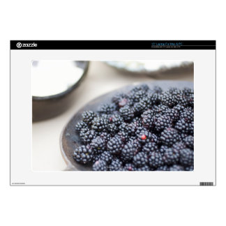 """Bowl of blackberries on a table 15"""" laptop decals"""