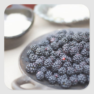 Bowl of blackberries on a table square sticker