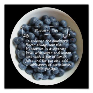 "Bowl of Blueberries 12""x12"" Poster"